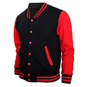 baseball jacket varsity baseball cotton jacket letterman jacket 8 colors-b-r xs black-red