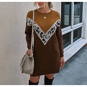 Women's Sweater Jumper Dress Short Mini Dress - Long Sleeve Color Block Fall Winter Casual 2020 Black Khaki S M L XL