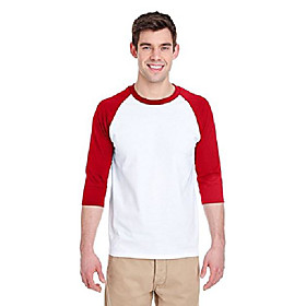 adult heavy cotton 53 oz, 3/4 raglan sleeve t-shirt - white/ red - m - (style # g570 - original label)