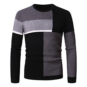 Men's Knitted Color Block Pullover Long Sleeve Sweater Cardigans Crew Neck Winter Red Gray