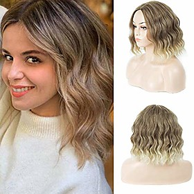trend bob short wavy wigs mixed brown blonde hair wig with middle part curly wigs for women heat resistant synthetic wigs