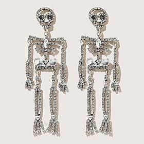 Men's Women's Silver Stud Earrings Vintage Style Skull Stylish Earrings Jewelry Silver For Halloween Carnival 2pcs