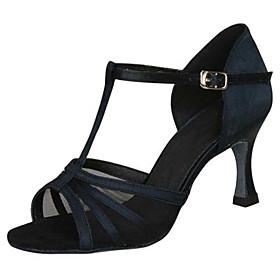 Women's Latin Shoes Heel Flared Heel PU Leather Buckle Black / Almond