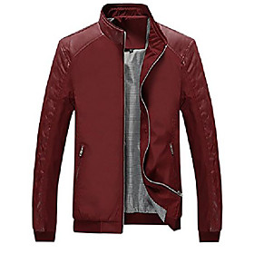 men's casual stand collar slim leather sleeve bomber jacket (x-large, wine red)