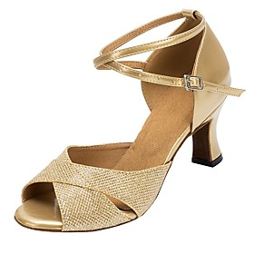 Women's Latin Shoes Heel Thick Heel Faux Leather Gold