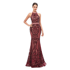Mermaid / Trumpet Beautiful Back Sexy Prom Formal Evening Dress Halter Neck Sleeveless Floor Length Sequined with Sequin 2020