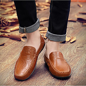 Men's Loafers  Slip-Ons Casual Daily Leather Wear Proof Light Brown / Dark Brown / Black Fall / Winter