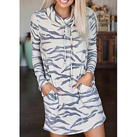 Women's A-Line Dress Short Mini Dress - Long Sleeve Print Fall Casual Going out Cotton Slim 2020 White S M L XL XXL