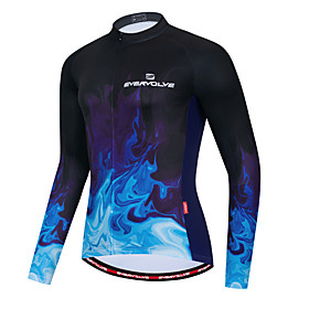 Men's Long Sleeve Cycling Jersey Dark Navy Bike Quick Dry Sports Geometic Clothing Apparel / Micro-elastic