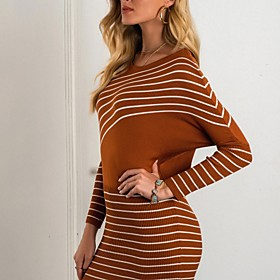 Women's Sweater Jumper Dress Short Mini Dress - Long Sleeve Striped Fall Elegant Batwing Sleeve Cotton Skinny 2020 White Black Brown One-Size