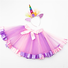 girls party layered rainbow tutu skirt and flower crown wreath headband deep purple medium/2-4t