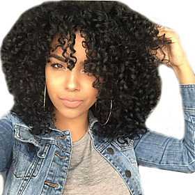 Synthetic Wig Afro Bouncy Curl Layered Haircut Wig Medium Length Black Synthetic Hair 16 inch Women's Cool Fluffy Black