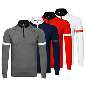 Men's 1 Piece Golf Polo Shirts Half Zip Solid Color UV Sun Protection Breathable Quick Dry Autumn / Fall Spring Winter Sports Outdoor / Cotton / Long Sleeve /