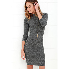 Women's Sheath Dress Knee Length Dress - Long Sleeve Solid Color Spring Fall Vintage Skinny 2020 Dark Gray S M L XL XXL