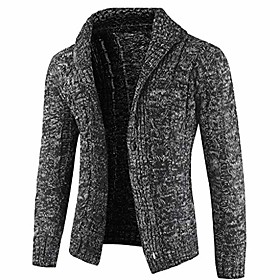 men's casual slim knitwear button down sweater autumn winter thick shawl collar cable cardigan jacket with pockets gray