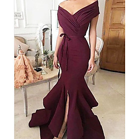 Mermaid / Trumpet Minimalist Sexy Wedding Guest Formal Evening Dress V Neck Sleeveless Sweep / Brush Train Charmeuse with Split Tier 2020