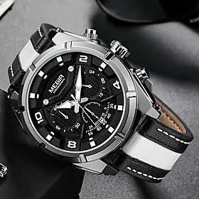 men's casual chronograph quartz watches fashion leather strap luminous hands watch man luxury military sports wristwatch white
