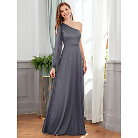 Women's A-Line Dress Maxi long Dress - Long Sleeve Solid Color Spring Fall One Shoulder Formal Elegant Party Loose 2020 Dark Gray S M L XL XXL 3XL 4XL