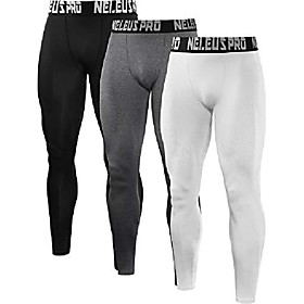 men's 3 pack compression pants running tights sport leggings,6019,black,grey,white,xl,eu 2xl