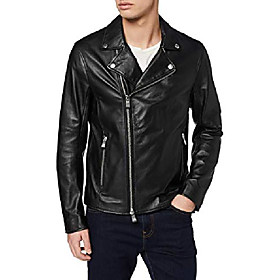 ax armani exchange men's sheep leather zip up motorcycle jacket, black, xs