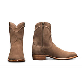 Men's Boots Cowboy Western Boots Work Boots Casual Daily PU Almond / Coffee Fall / Winter
