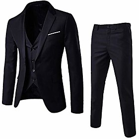 3-piece blazer jacket men's slim suit coat tuxedo party business wedding party jacket vest amp; pants (black, xxxl)