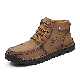 Men's Boots Casual Daily Outdoor Walking Shoes Faux Leather Wear Proof Booties / Ankle Boots Light Yellow / Black / Khaki Fall / Winter