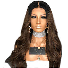 Synthetic Wig Curly Body Wave Middle Part Wig Long Dark Brown Synthetic Hair Women's Cool Fluffy Dark Brown