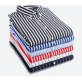 Men's Athleisure Shirt Striped Short Sleeve Slim Tops Business Basic White Black Blue