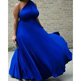 A-Line Sexy Plus Size Wedding Guest Formal Evening Dress One Shoulder Sleeveless Court Train Satin with Pleats 2020