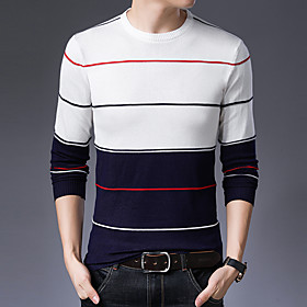 Men's Basic Christmas Glitter Knitted Braided Polka Dot Striped Color Block Sweater Cotton Long Sleeve Sweater Cardigans Crew Neck Spring Fall White Camel Navy