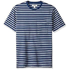 amazon brand - menamp; #39;s short-sleeve indigo crewneck pocket t-shirt, dark triple stripe, xx-large