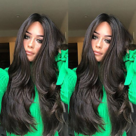 Synthetic Wig Body Wave Middle Part Wig Long Very Long Black Synthetic Hair 26 inch Women's Party Middle Part Fluffy Black
