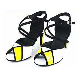 Women's Latin Shoes Heel Slim High Heel PU Leather Buckle Splicing Golden / White