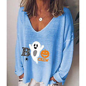 Women's Halloween T-shirt Cartoon Letter Pumpkin Long Sleeve Print V Neck Tops Basic Basic Top White Black Blue