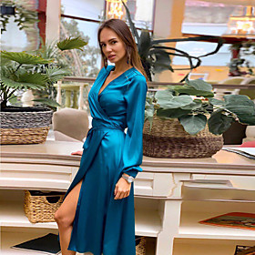 Women's A-Line Dress Midi Dress - Long Sleeve Solid Color Patchwork Spring V Neck Sexy Slim 2020 Blue Gray S M L XL XXL