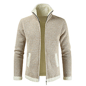 Men's Basic Knitted Color Block Cardigan Faux Fur Long Sleeve Sweater Cardigans Shirt Collar Fall Winter Blue Yellow Wine