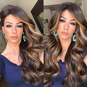 Synthetic Wig Curly Body Wave Middle Part Wig Long Dark Brown Synthetic Hair 26 inch Women's Ombre Hair Middle Part Dark Brown