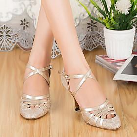 Women's Latin Shoes Heel Thick Heel Mesh Black / Gold / Silver