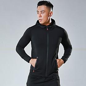 Men's Hoodie Sweatshirt Color Block Turtleneck Spandex Solid Color Sport Athleisure Hoodie Long Sleeve Breathable Quick Dry Moisture Wicking Comfortable Plus S