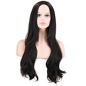 Synthetic Wig Curly Deep Wave Middle Part Wig Long Black Synthetic Hair Women's Party Classic Comfortable Black