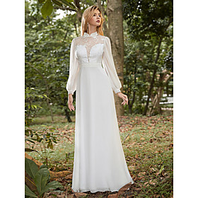 Women's A-Line Dress Maxi long Dress - Long Sleeve Tie Dye Lace Fall Winter Shirt Collar Formal Elegant Party Beach Chiffon Loose 2020 White S M L XL