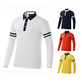 Men's 1 Piece Golf Polo Shirts Stripes UV Sun Protection Breathable Quick Dry Autumn / Fall Spring Winter Sports Outdoor / Cotton / Long Sleeve / Stretchy