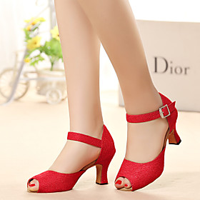 Women's Latin Shoes Heel Thick Heel Polyester Red