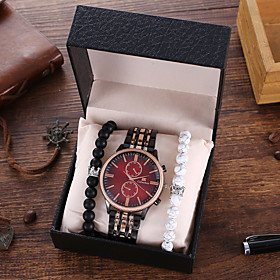 Men's Steel Band Watches Quartz Modern Style Stylish Classic Chronograph Analog Red Yellow / Stainless Steel / Large Dial
