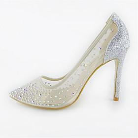 Women's Wedding Shoes Stiletto Heel Pointed Toe Wedding PU Beige