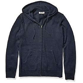 amazon brand - men's supersoft marled fullzip hoodie sweater, navy xxx-large tall