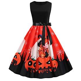 Women's A-Line Dress Knee Length Dress - Sleeveless Print Print Summer Vintage Party Slim 2020 Red S M L XL XXL