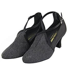 Women's Dance Shoes Latin Shoes / Ballroom Shoes / Line Dance Heel Thick Heel Black / Performance