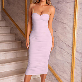Women's Sheath Dress Knee Length Dress - Sleeveless Solid Color Ruched Summer Strapless Sexy Party Slim 2020 Blushing Pink S M L XL